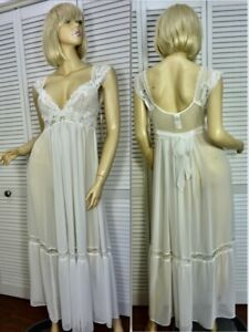 NWT $78 In Bloom by Jonquil Ballet Nightgown LARGE Ivory Chiffon & Lace Bridal