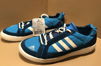 New ADIDAS Mens Deluxe Skateboard Lace Up Boat Shoes Solar Blue/White Size 9 7B3