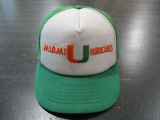 VINTAGE Miami Hurricanes Snap Back Hat Cap White Green Trucker Mesh Football *