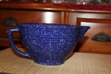 Large Vintage WS USA Pottery Blue Spongeware Cake Batter Pitcher Bowl W/Handle