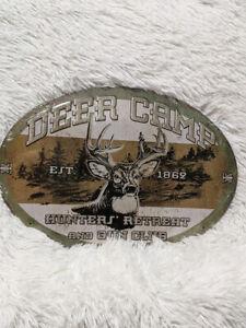 12 x 16 DEER CAMP HUNTERS RETREAT  GUN CLUB EST 1862 Tin Oval Metal Sign