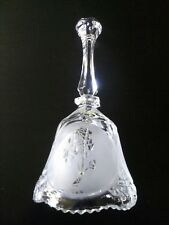 "Vintage Mic 8"" 24% Lead Crystal Bell With Frosted Etched Roses Taiwan R.O.C."