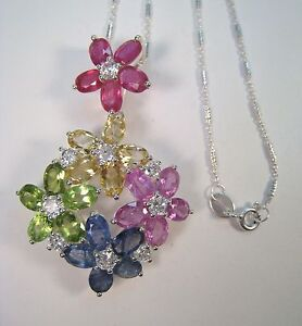 FANCY SAPPHIRE, RUBY CITRINE PERIDOT NECKLACE 15.65 CTW  W. GOLD over 925 SILVER
