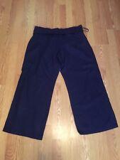 Womens Navy Blue Linen Casual Dress Beach Pants Size 18