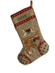 Sarah Personalized Cross Stitch Christmas Stocking Heirloom Horse Bear Blocks