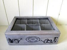 Shabby n Chic Rustic Style Garden Storage Box with 6 Compartments.Glass Lid.Gift