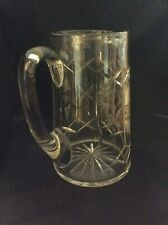 Large Vintage Cut Glass Lead Crystal Water Jug Applied Handle