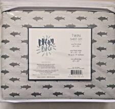 NIP Dream Big Gray Sharks & Stripes Twin Sheet Set: NEW