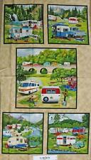 Country Patchwork Quilting Fabric CARAVAN VINTAGE TRAILER Panel 60 X 110cm New