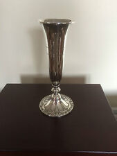 """BEAUTIFUL STERLING SILVER VASE (407GRAMS FILLED) 10.25"""" TALL ON A 4.25"""" FOOT"""