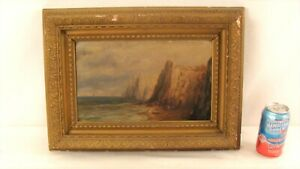 Antique 19C Dover Cliffs Seascape Sailboat O/B Painting Gilt Frame