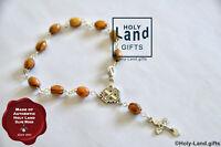 Olive wood bracelet mini rosary oval wooden religious JERUSALEM cross ONE DECADE