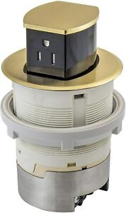 Hubbell RCT200BR 15A 125V Tamper Resistant Brass Pop-Up Countertop Receptacle