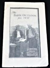 US DEPARTMENT OF AGRICULTURE THE FARM LOOKOUT FOR 1937 BROCHURE VINTAGE (1936)