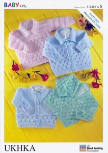"""UKHKA 6 Knitting Pattern Baby Cardigans and Sweater in 4 Ply 31-56cm (12-22"""")"""