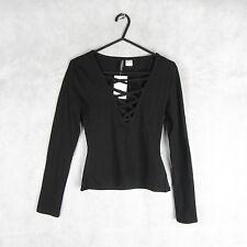 New! Stunning! H&M Black Long Sleeve Summer Top/Blouse Size S Stylish Fashion