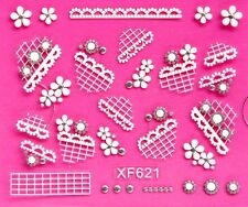 3D Nail Art Stickers White/Black Glitter Lace Flower Web Silver Crystal 621