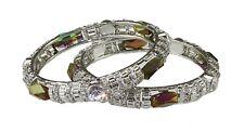 COPPIA di Multicolore Metallico Cristallo, Argento Pietra & Diamante braccialetti Indiano x2
