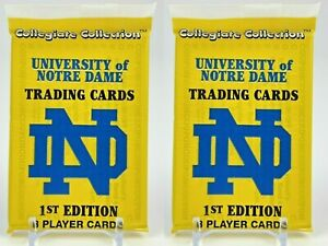 1990 Collegiate Collection Notre Dame Football Players 8 Card Pack Lot of 2 NEW