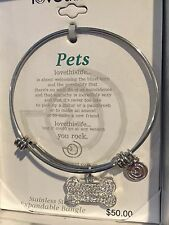 Love This Life 'I Love My Dog'expandable Stainless Steel Bangle In Gift Box New