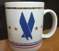 Vintage American Airlines Coffee Mug City Ticket Office Gold Trim