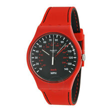 New Swatch Watch SUOR104 Brake Black Dial Red Silicone Unisex Watch