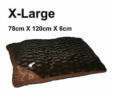 LARGE Comfy Soft Washable Dog Pet Cat Warm Basket Bed Cushion Pillow CHECK BROWN