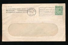 GB SLOGAN CANCEL 1922 BOXED POST EARLY + KODAK ENVELOPE + PERFIN on KG5 1/2d