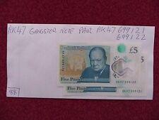 NEW FIVER POLYMER £5 POUND NOTE PAIR GREAT SERIAL Nos, AK47 699121 & AK47 699122
