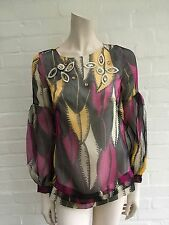 Matthew Williamson Amazing Jeweled Silk Tunic Top Blouse Size UK 8 US 4 S