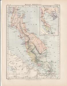 Malay Peninsula Asia Map by W & A K Johnston 1875