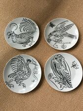 Set of 4 fornasetti uccelli calligrafica plates 1 4 5 6 birds calligraphy