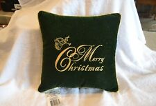 "Decorative Pillow Velvet-like Feel/Crewel Stitching Reads ""Merry Christmas"""