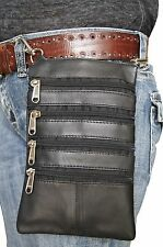 Leather Biker Waist Loop Hang Pouch Hip Fanny Cross Body Bag I Phone Cover