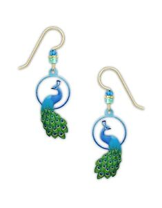 COLORFUL PEACOCK Hypo-Allergenic Earrings, Sterling Silver Plated, by Sienna Sky