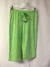 NWT Hue HUEtopia Sleepwear Capri Pajama Pant Size Large Green w/ White #1299P
