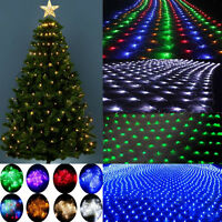 96/200 LED Fairy String Xmas Tree Net Mesh Curtain Light Lamp Outdoor Waterproof