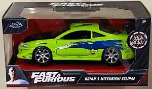 Jada Fast & Furious Brian's Mitsubishi Eclipse Green 1/32 die cast Car