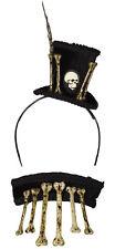 Voodoo Bones and Skull Mini Top Hat Headband and Choker Set