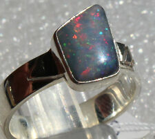 Multicolor Brazil Opal 1.4 Karat 950er Silberring Größe 19,1 mm Unikat