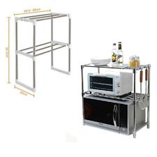 2 Tier Kitchen Microwave Oven Rack Stand Shelf Stainless Steel Storage Organiser