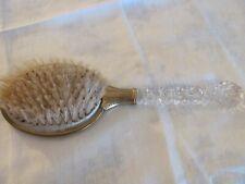 Vintage Vanity Hair Brush - Art Deco - Clear Cut Handle - Rose Detail