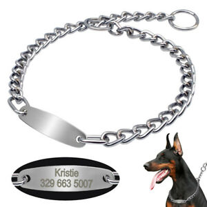 Personalised Pet Dog Chain Collars ID Tags Engraved Choke for Medium Large Dogs