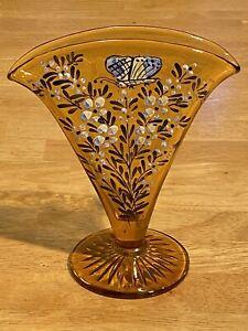 FENTON VINTAGE ART GLASS HAND PAINTED FAN SHAPED AMBER VASE FLOWERS BUTTERFLY