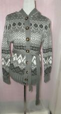 GREY WHITE MIX PATTERENED BELTED HOODED KNITTED JACKET H&M SMALL TO MEDIUM