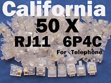 50 X pcs RJ11 Plug 6P4C Phone Modular Telephone Cord Connector Adapter Crimp CAT