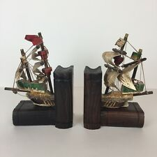 Vintage Sailing Schooner Nautical Themed Bookends Pirate Ship Collectibles