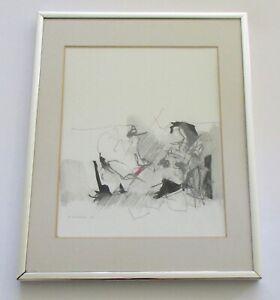 Robert Kaupelis New York Modernist Mixed Media Drawing 1928- 2009