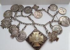 Patriotische Schützenkette 1903 Massiv 800er Silber 16 Medallien Schützenpreis