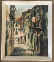 Oil Painting Continental Street Scene On Canvas Framed Signed